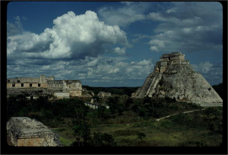 "Uxmal, an archaeological site. The pyramid is called ""Pyramid of the Magician"""
