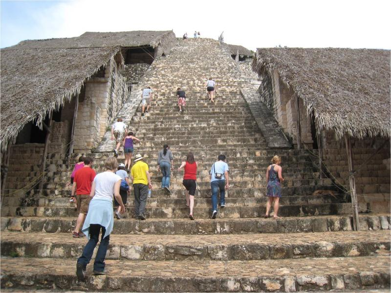 UC students exploring the Maya site, Ek' Balam