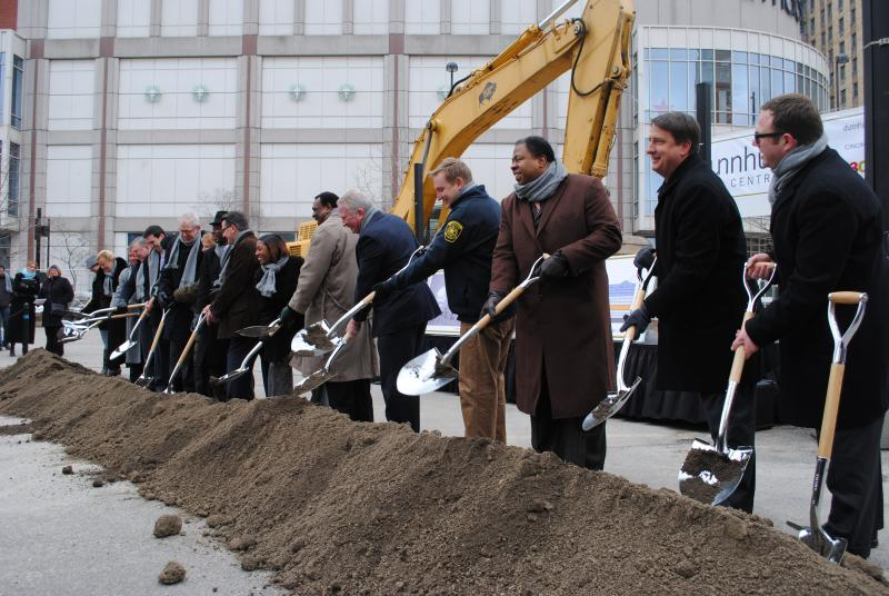 Groundbreaking ceremony for new dunnhumby headquarters at Fifth and Race in Cincinnati.