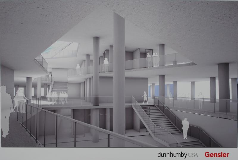 Preliminary interior design for dunnhumbyUSA facility at Fifth and Race in downtown Cincinnati.