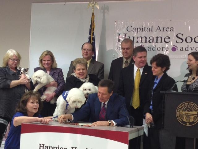Sammy the dog is making sure Governor Kasich signs the puppy mill bill.