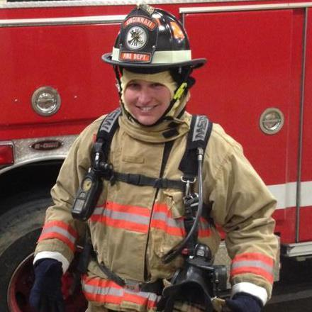 Cincinnati Council Member Chris Seelbach in fire department gear