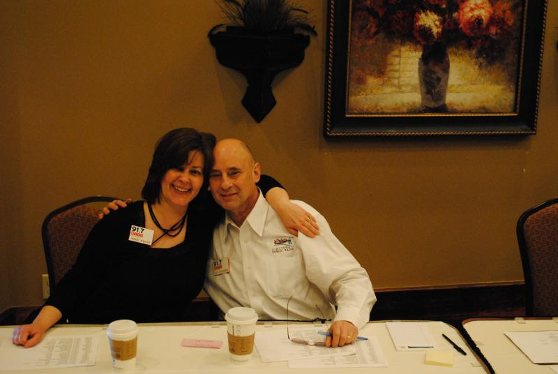 Sherri Mancini and Len Sternberg at the check-in table