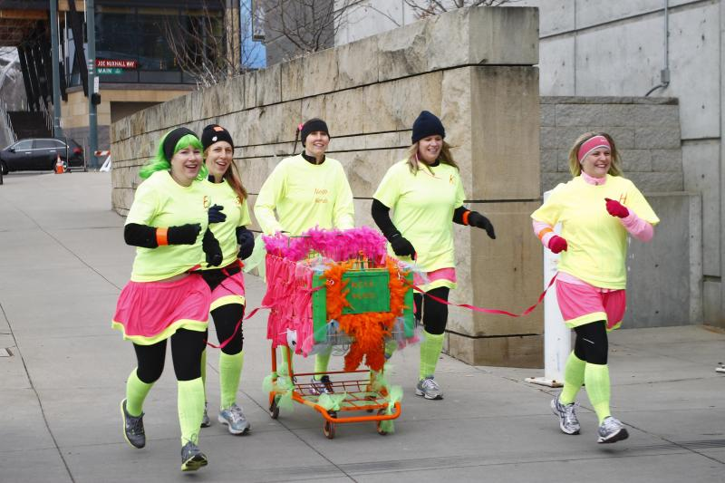 Team Neon Nerds race to their next checkpoint.