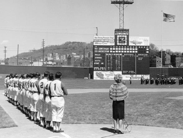 Marian Spelman sings the National Anthem at the 1962 opener at Crosley Field
