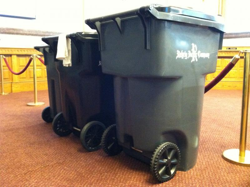 The 35, 65 and 95 gallon trash carts that will be available for Cincinnati residents.