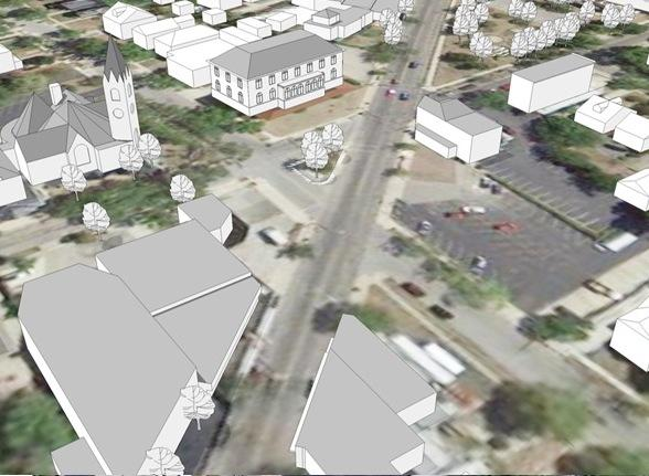 Existing condition of the area being proposed for Westwood Civic Square