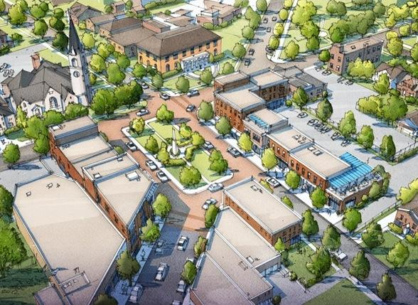Artist rendering of proposed Westwood Civic Square
