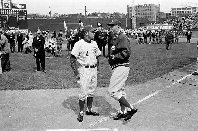 Reds manager Dave Bristol and Dodgers manager Walter Alston, Opening Day 1969