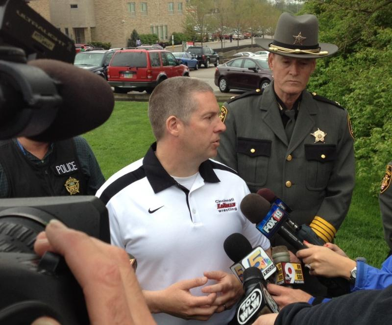 School officials and Hamilton County Sheriff Jim Neil brief the media.