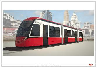 Rendering of proposed streetcar vehicle for Cincinnati.