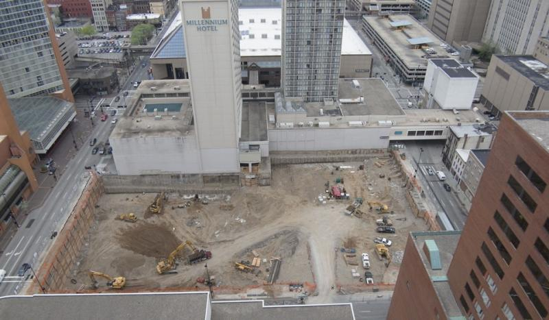 Aerial view on construction work on dunnhumbyUSA site at 5th and Race in downtown Cincinnati.