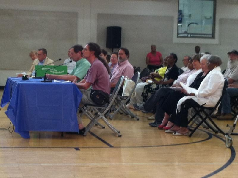 Speakers at the second hearing on Cincinnati's budget at the College Hill Recreation Center