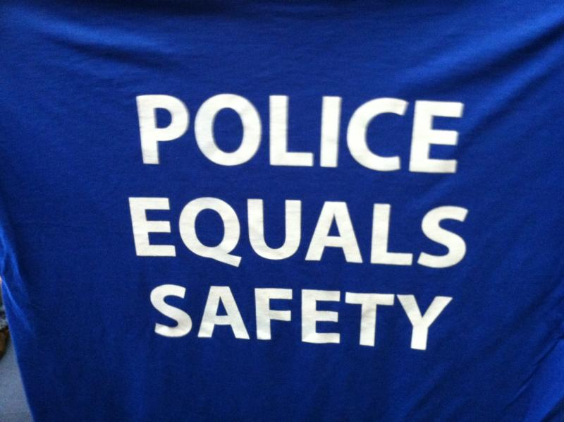 T-shirts worn by some Cincinnati police officers during budget hearing Thursday night