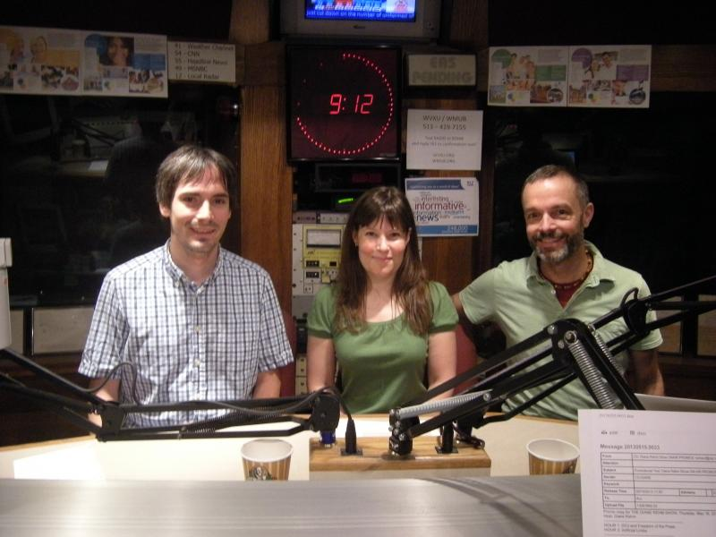 Jason Reser, Melissa McVay and Dan Korman in the WVXU studios