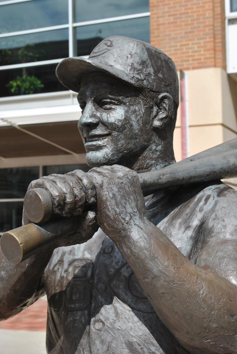 Tsuchiya created five other statues for GABP, including this one of Reds slugger Ted Kluszewski.