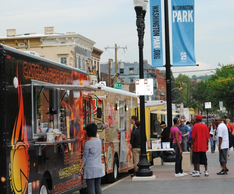 Mobile food trucks started serving in Washington Park today.