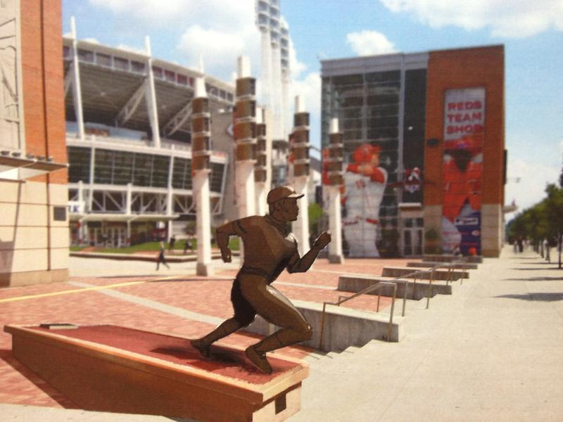 The new statue will be in Crosley Terrace at the corner of Johnny Bench Way and Joe Nuxhall Way.