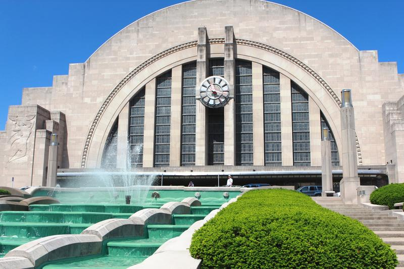 Fountain flows for the summer at Cincinnati's Union Terminal.