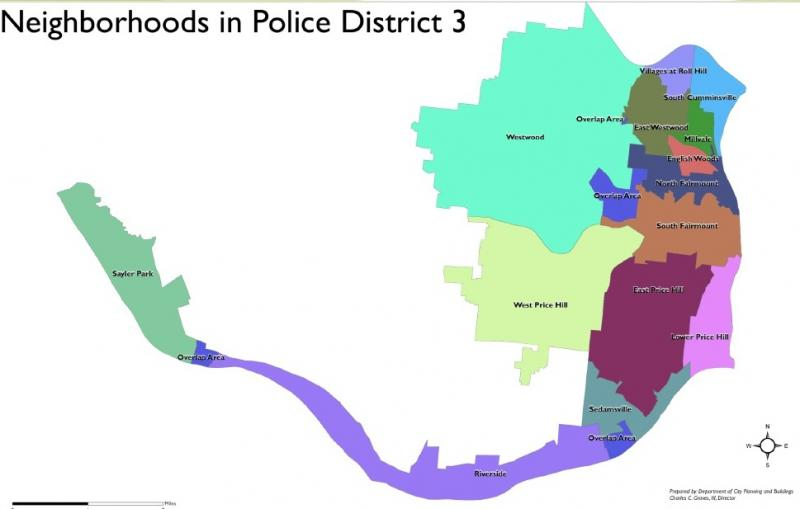 Map of Cincinnati's Police District 3