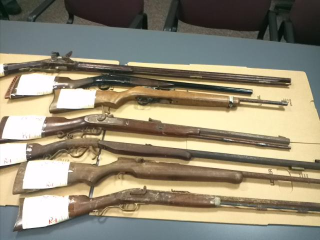 Weapons collected from Ronald James' home included four handguns, one loaded, and 11 rifles.