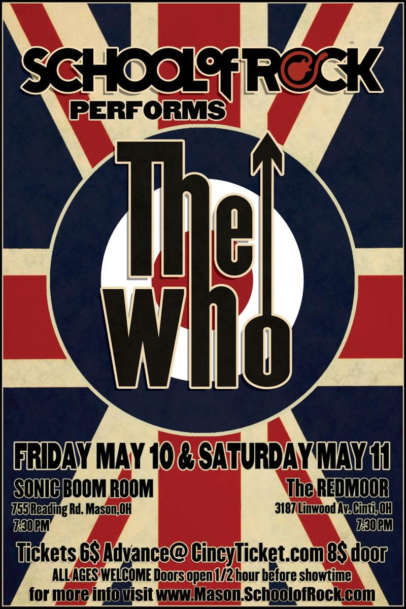 Poster for the upcoming performance of 'The Who' at School of Rock
