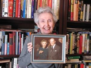Betty Hoyt, holding a picture of her husband, Waite