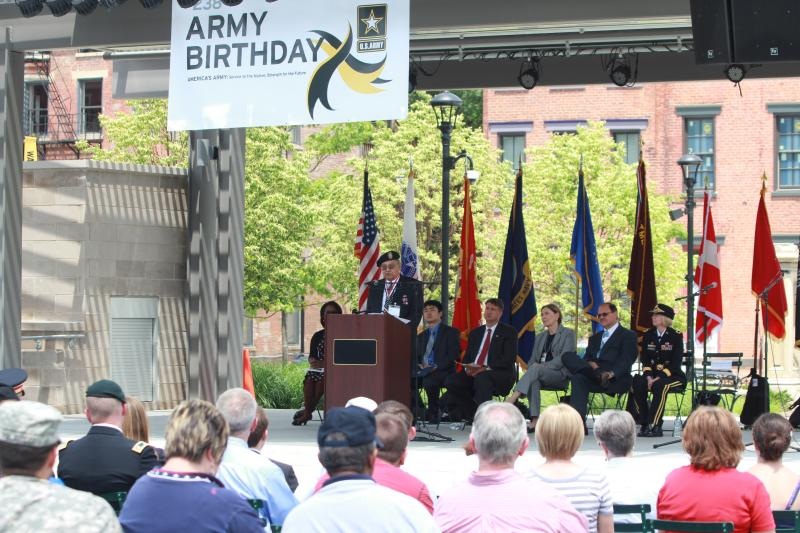 MAJ (Ret) Sario Caravalho gives special tribute to Vietnam veterans at Army birthday celebration.