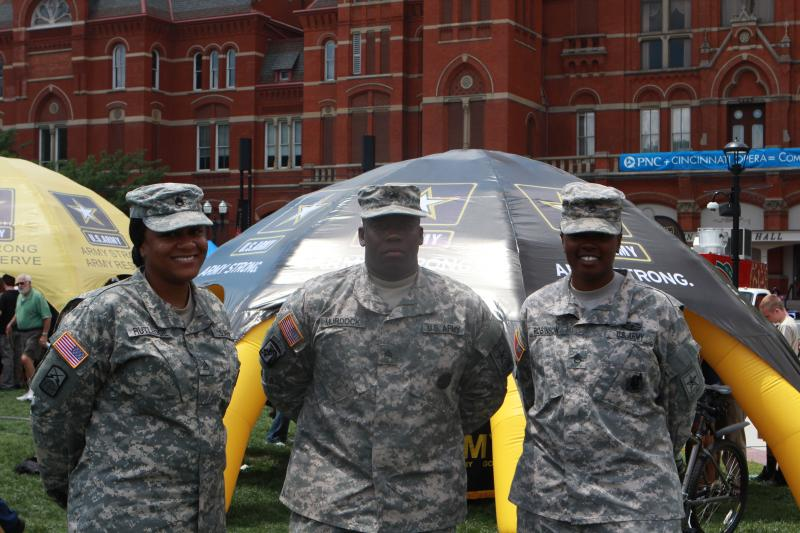 Staff Sgt. Terri Rutledge, Sgt. Warren Murdock and Staff Sgt. Lakizzy Robinson enjoy the homecoming ceremony.