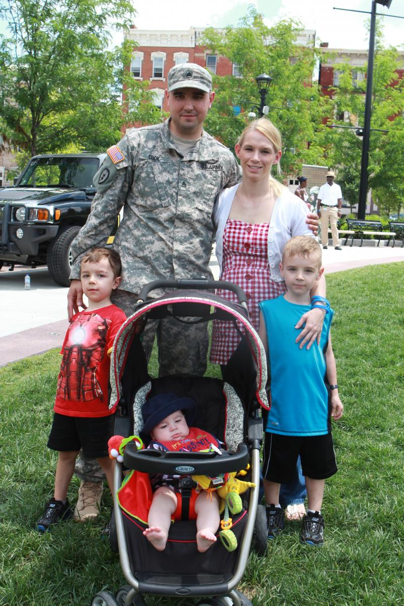 Staff Sgt. Billy Cook of Bellbrook celebrates with his family.