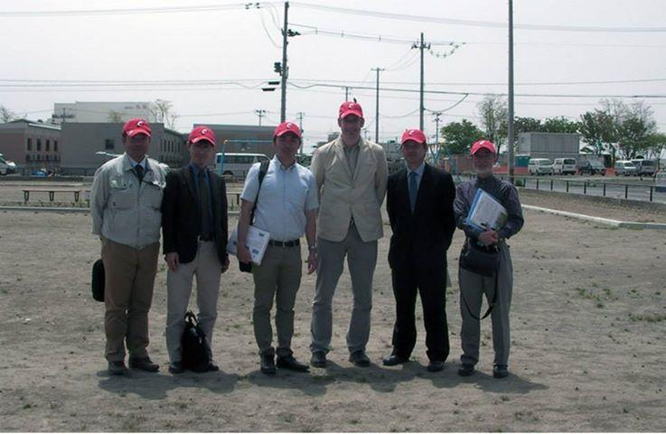 UC Professor Peter Chamberlin (center) was in Ishinomaki planning the playground for this site.