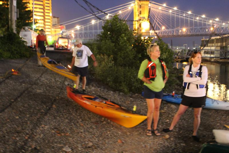Lynette Jolicoeur and Lisa Middendorf, both of Ft. Mitchell, ready their kayaks for the early morning float.