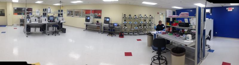 State of the art accredited AssureRx clinical genomics laboratory in basement of Mason City Hall.