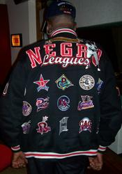 Tom Turner's jacket, displaying the logos of all the Negro League teams