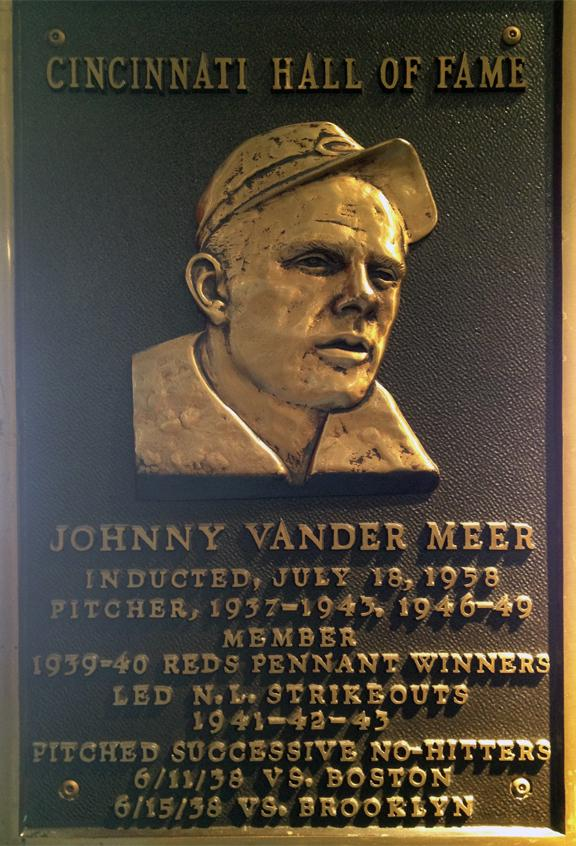 Vander Meer's Reds Hall of Fame plaque