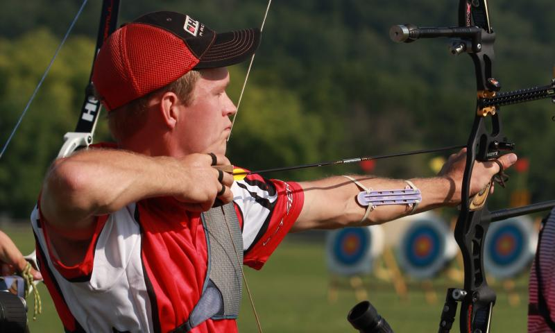 Olympic Silver Medalist Jacob Wukie takes aim at the U.S. National Target Championships in Hamilton, Ohio.