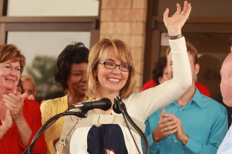 Gabrielle Giffords thanks the crowd in Northside for their support.