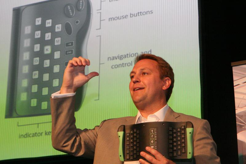 Inventor Mark Parker demonstrates the range of finger motion available for rear-typing.
