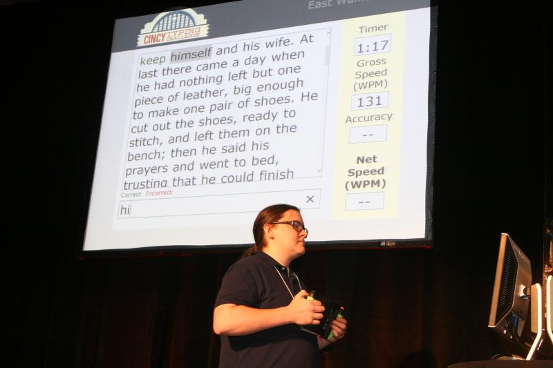 Contestants typed a script from a monitor while the audience viewed their progress on large screens.