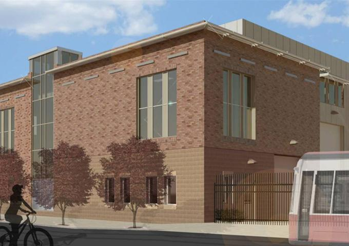 Rendering of proposed Cincinnati streetcar maintenance building to be located at Race & Henry in Over-the-Rhine.