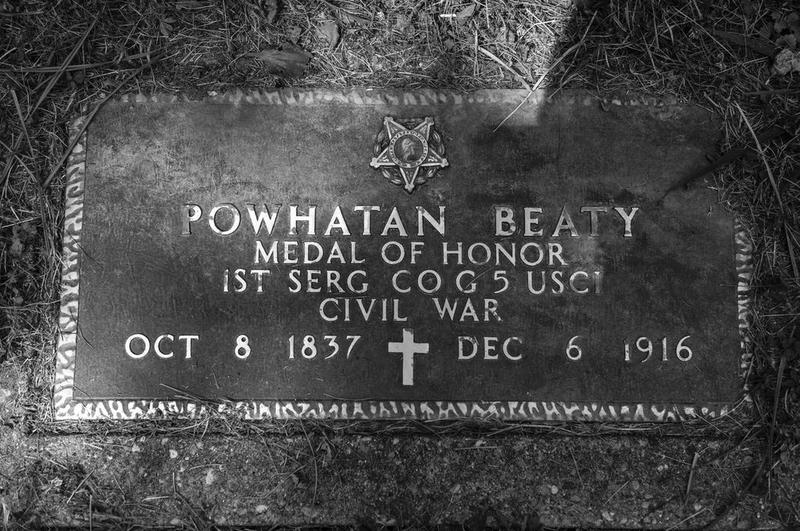 The grave of Powhatan Beaty, who earned the Medal of Honor in the Civil War.