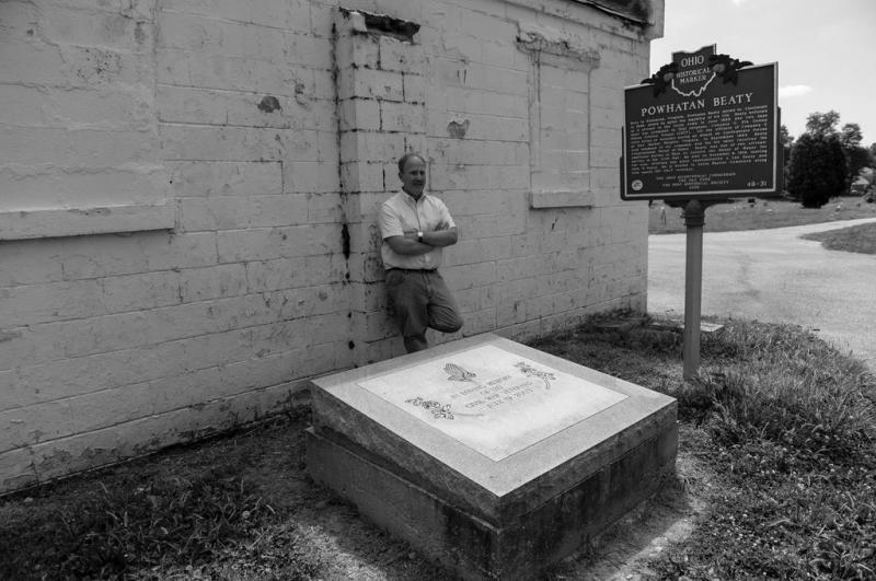 History teacher Paul LaRue at Beaty historical marker and monument to black soldiers.