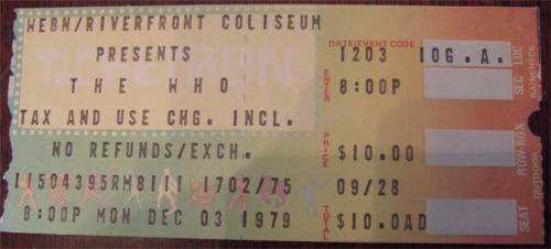 This is a ticket from that fateful night, December 3rd, 1979.