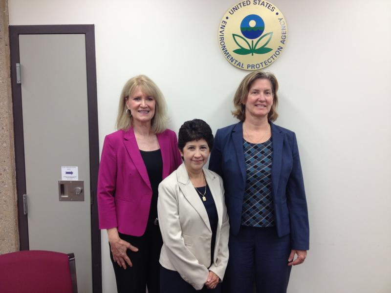 (from left) Melinda Kruyer: executive director Confluence, Sally Gutierrez, EPA's director of innovation clusters, Theresa Hardin, EPA water technology cluster team lead.