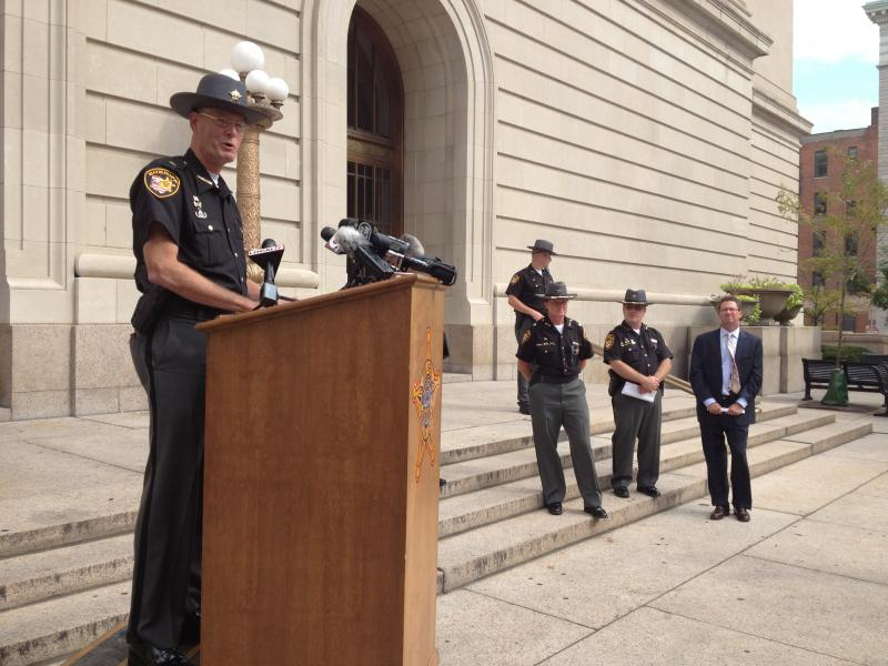 Sheriff Jim Neil announced his three-phase approach outside the courthouse