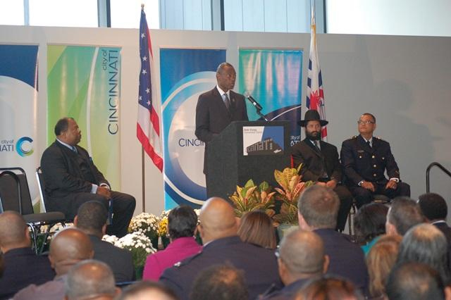 Cincinnati Mayor Mark Mallory speaking during the oath of office ceremony for new Police Chief Jeffrey Blackwell