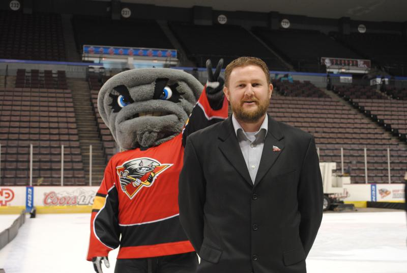 Sean Lynn, Director of Marketing & PR (and Twister) on the ice at US Bank Arena