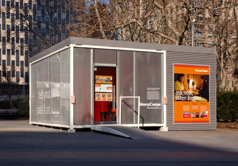 StoryCorps' StoryBooth located in Foley Square, downtown Manhattan.