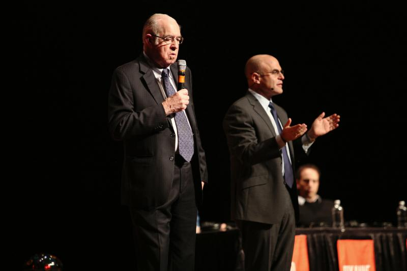 Carl Kasell and Peter Sagal answer questions after the show finished recording