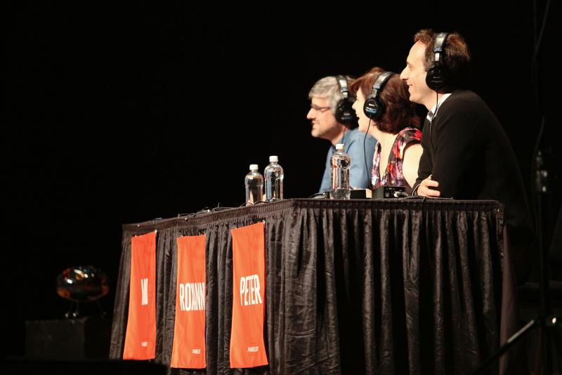 The panel of Peter Grosz, Roxanne Roberts and Mo Rocca